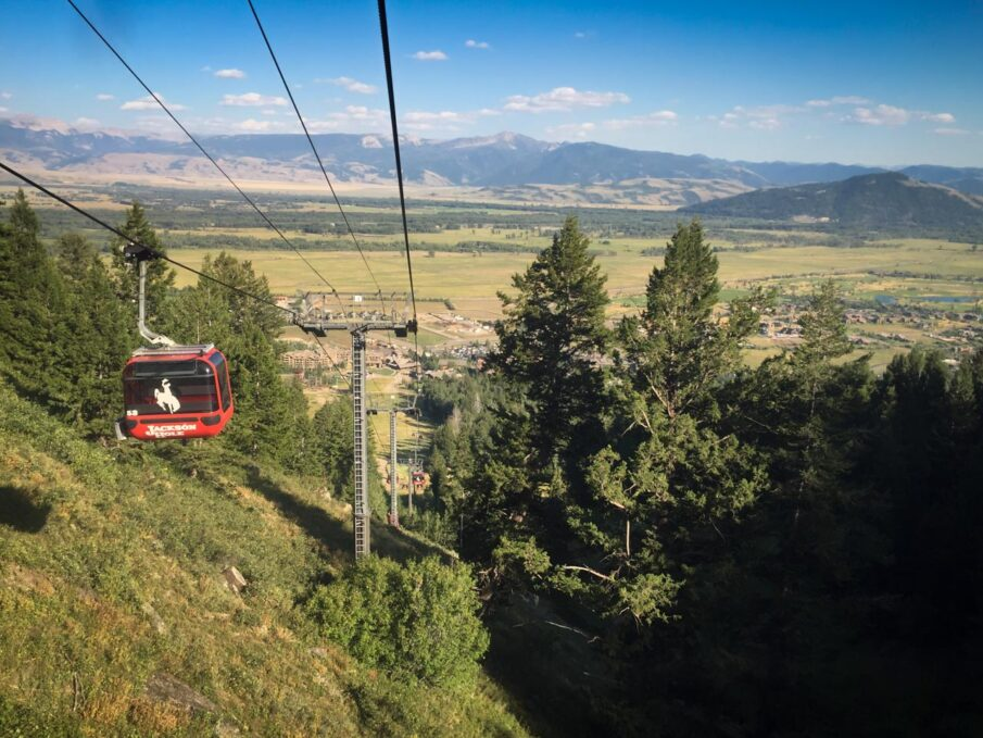 Riding the gondola to The Deck Restaurant at Teton Village