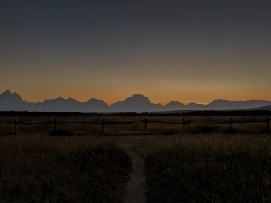 Sunset over the Tetons in Grand Teton National Park