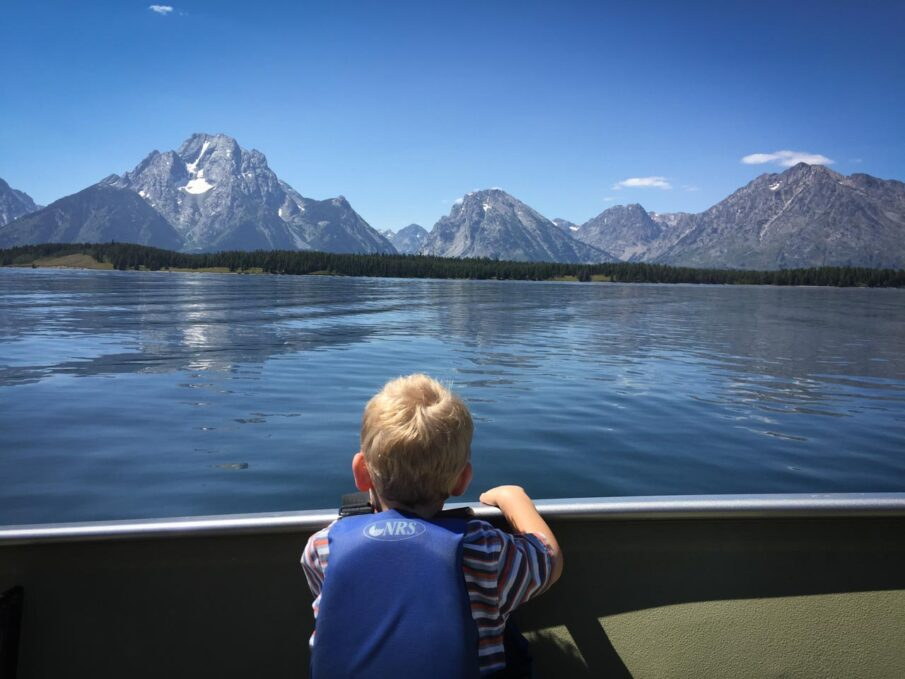 Checking out the view of the mountains from our boat on Jackson Lake in Grand Teton National Park