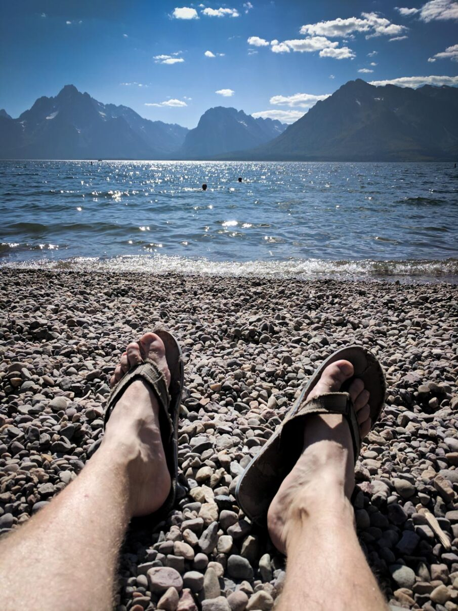 Relaxing on Colter Bay Swim Beach on Jackson Lake in Grand Teton National Park