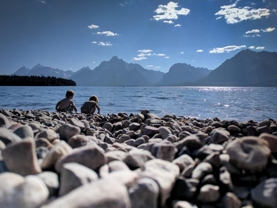 Playing on Colter Bay Swim Beach on Jackson Lake in Grand Teton National Park