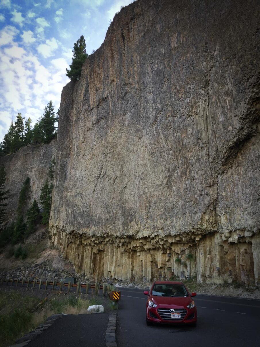 Impressive roads against sheer cliffs driving in to the heart of Yellowstone.