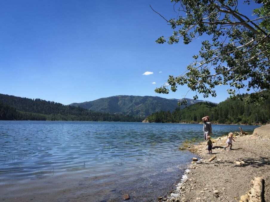 Skimming stones in Palisades Reservoir, Idaho.