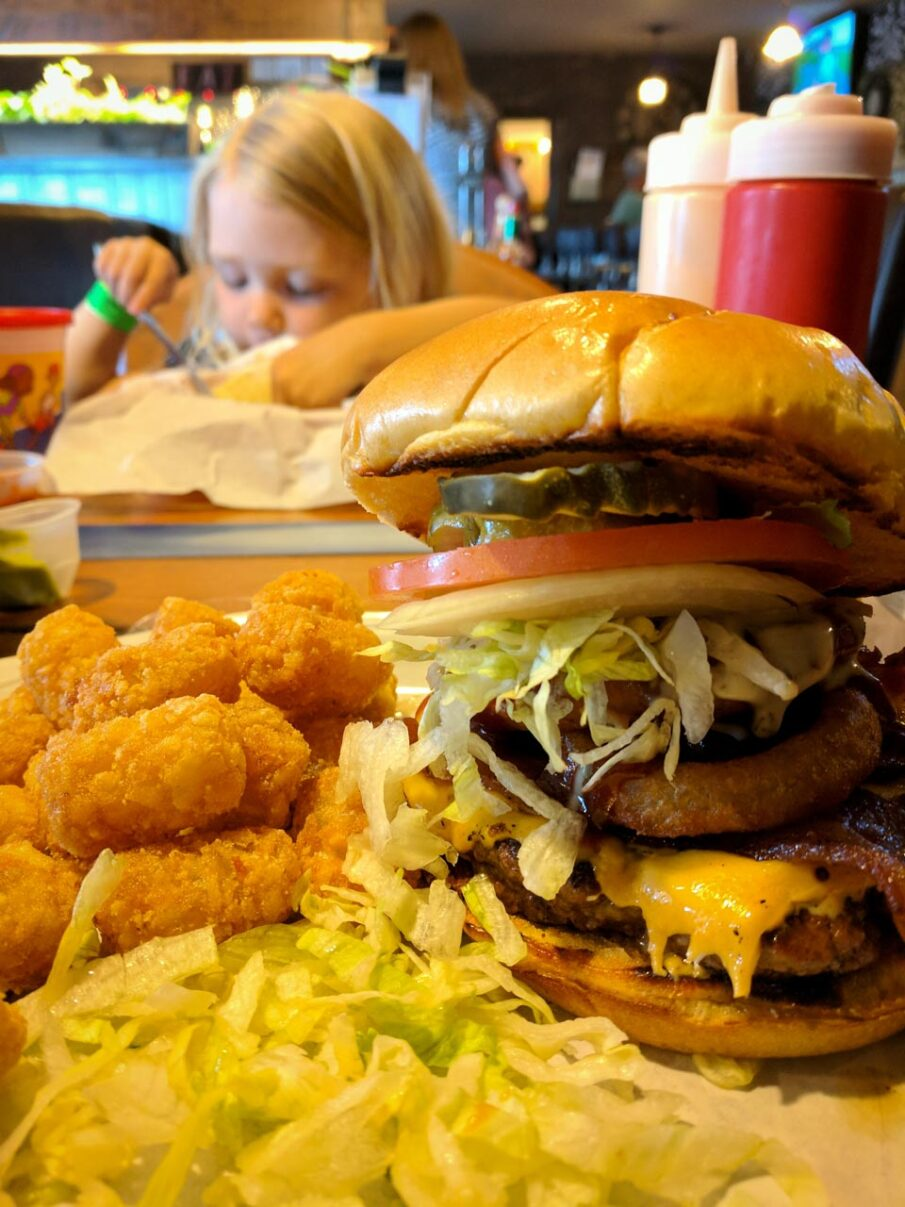 Giant burger for dinner at the Wagon Wheel Lounge, Lava Hot Springs
